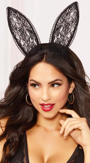 Black Lace Bunny Ear Headband - Black
