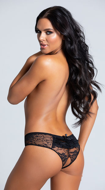 Lace Open Crotch Hipster - Black