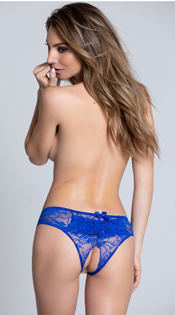 Lace Open Crotch Hipster - Blue