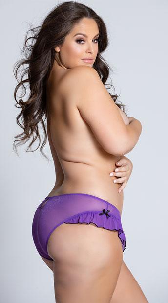 Plus Size Mesh Panty With Ruffle Hem And Back Keyhole - Purple