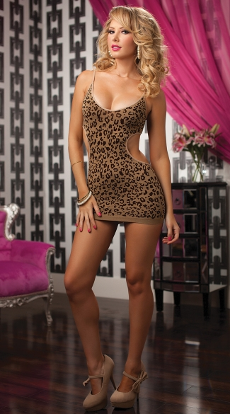 Seamless Leopard Jacquard Dress, Animal Print Dress, Animal Print Chemise, Leopard Print Chemise
