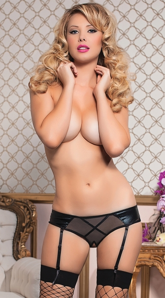 Shimmery and Sheer Open Crotch Garter Panty - Black