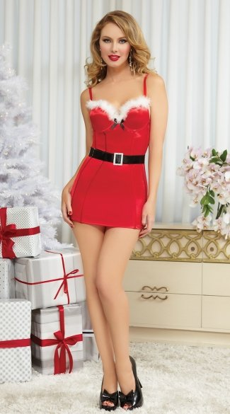 Naughty N Nice Christmas Dress, Sexy Christmas Dress, Hot Christmas Dress-2809