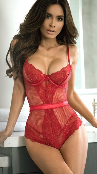 Stunner Net and Lace Teddy - Red
