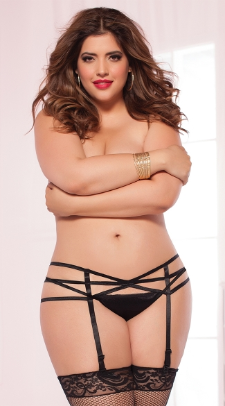 Plus Size Strap Me In Garter Belt, Plus SIze Black Garter Belt, Plus Size Sexy Elastic Garter Belt