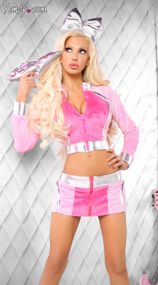 Josie Loves J Valentine Sci Fi Barbarella Set, Pink Barbarella Costume, Furry Pink Jacket and Skirt