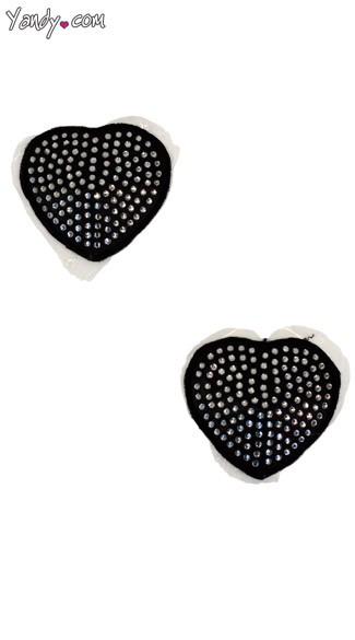 Sequin Heart Pasties - Silver/Black