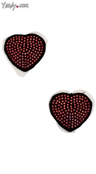 Sequin Heart Pasties - Black/Red