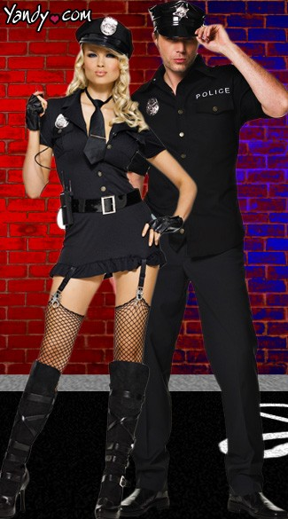 Police Partners Couple Costume - as shown