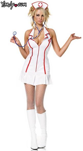 Sexy Head Nurse Costume - White/Red