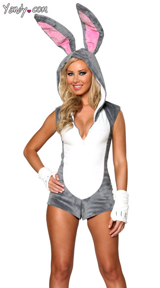 Yandy Sexy Rascally Rabbit Costume - Grey/White