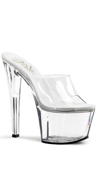 7 Inch Spike Heel Platform Sandal - Clear