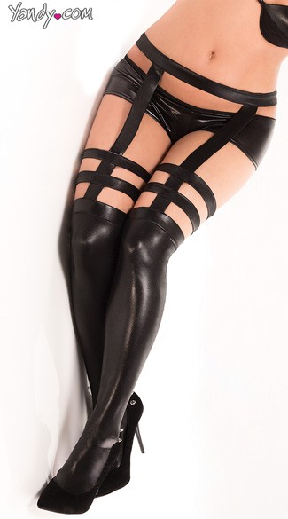Plus Size Wet Look Stockings - as shown