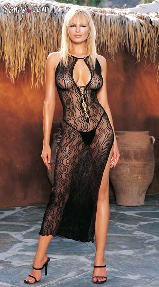Swirl Lace Up Long Dress With G-String - Black