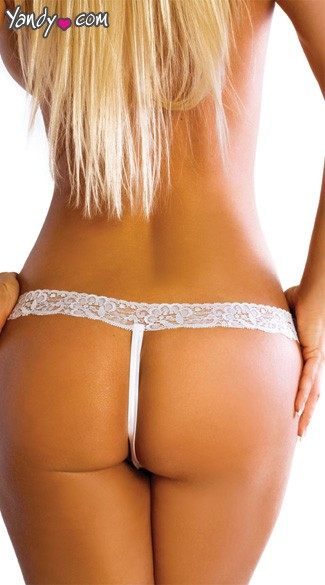 Criss Cross Crotchless G-String - White