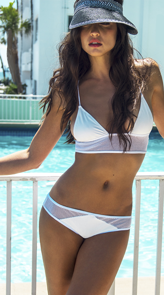 White Longline Fishnet Bikini, Longline Fishnet Bikini Top, Fishnet Bikini Top, Fishnet Swim Top, Fishnet Hipster Swim Bottoms, Fishnet Bikini Bottoms, Fishnet Swimsuit