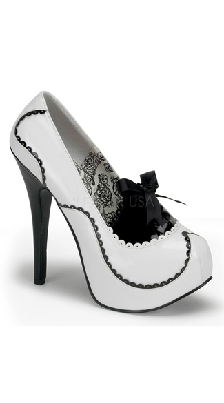 Teeze Two Tone Pump With Bow - White-black Pat