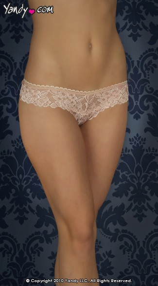 Thick Lace Band Thong - Nude