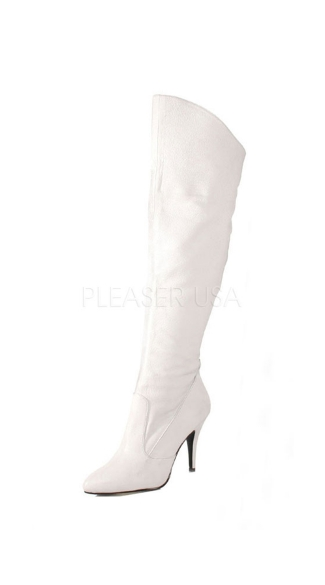 Vanity Thigh High Boot - White Leather