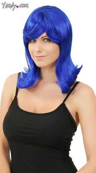 Dark Blue Peggy Sue Wig, Flipped Out Wig, Blue 50s Wig