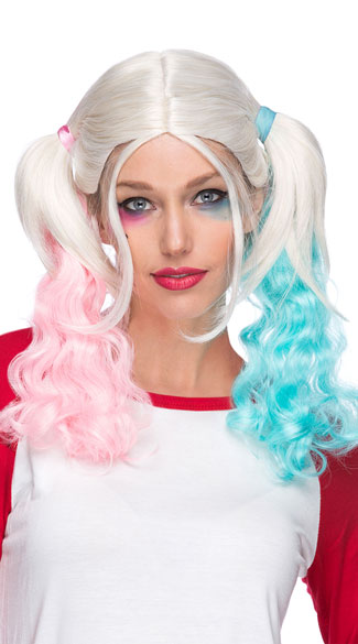 Carley Ponytail Wig Pink And Blue Wig Blonde Ponytail Wig