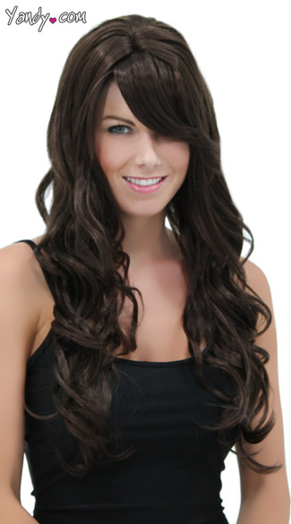 Long Curly Chocolate Brown Wig, Brown Curly Wig, Dark Brown Layers Curly Wig