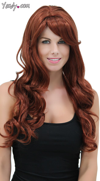 Rich Auburn Long Curly Wig - Cognac