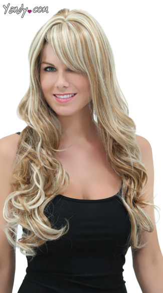 Long Curly Frosted Blonde Wig, Blush Broadway Frosted Blonde Wig, Long Curly Blonde Wig