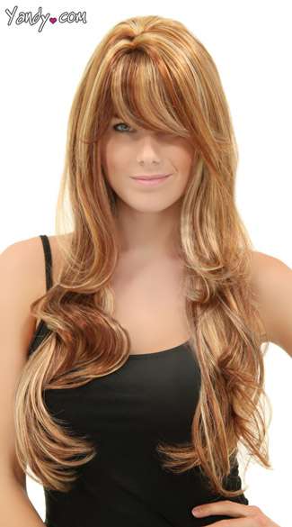 Long Blonde and Brown Wig, Blush Carmen Jamaican Rum Wig, Brown Wig with Blonde Highlights