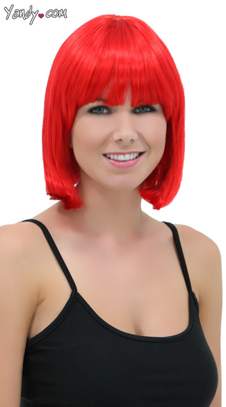 Fire Engine Red Bob Wig, Blush Cindy Firecracker Red Wig, Bright Red Bob Wig