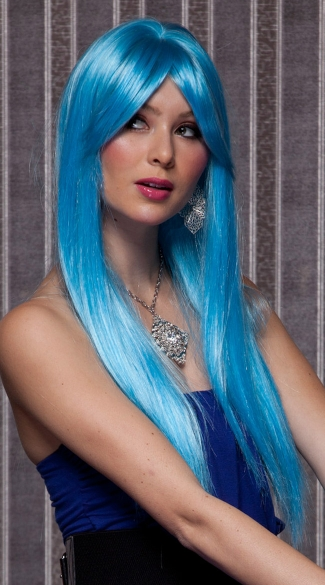 Cool Blue Long Straight Wig, Turquoise Long Wig, Blue Long Wig