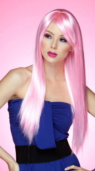 Cotton Candy Pink Long Straight Wig - Cotton Candy Pink