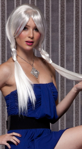 White Long Straight Wig, Blush Divine Snow Wig, White Long Wig