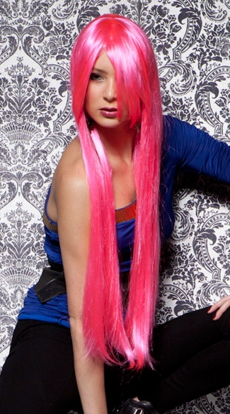 Pink Explosion Extra Long Straight Wig, Blush Fate Pink Explosion Wig, Long Hot Pink Wig