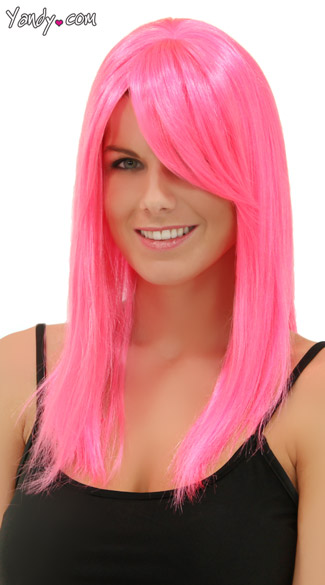 Pink Explosion Straight Wig, Blush Fortune Pink Explosion Wig, Hot Pink Straight Wig