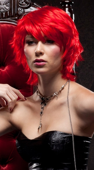 Fire Engine Red Choppy Layers Wig - Firecracker Red