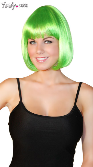 Bobbed Neon Green Wig, Green Bobbed Wig, Bright Green Wig