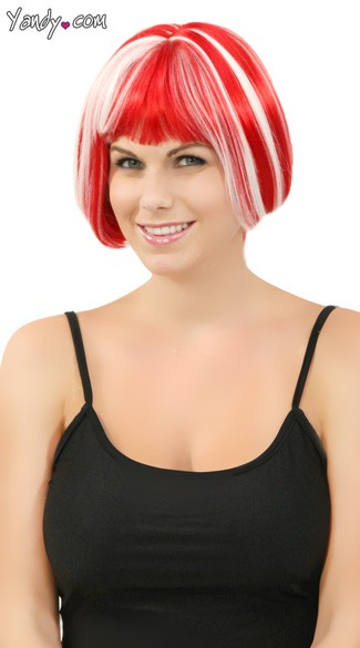 Red Glow In The Dark Mini Bobbed Wig, Red Glow Wig, Red Glow In The Dark Wig