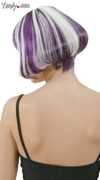 Purple Glow In the Dark Bobbed Wig - Purple/Pink Glow