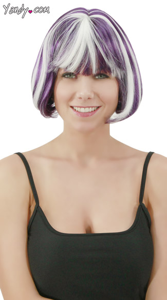 Purple Glow In the Dark Bobbed Wig, Purple Wig, Glow in the Dark Wig