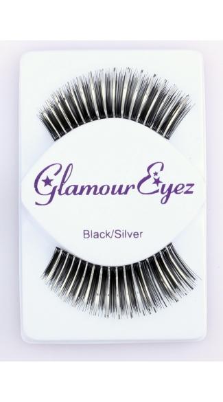 Long Black and Silver False Eyelashes - Black/Silver