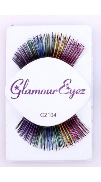 Black with Multi Color Eyelashes - Multi-Color