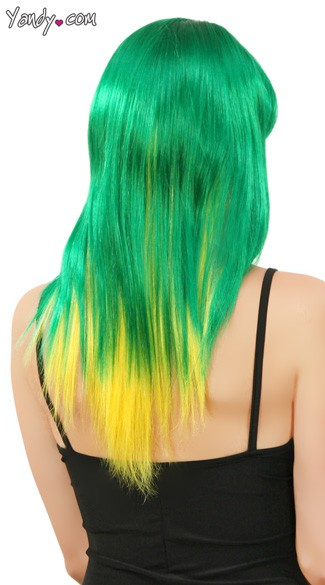 Emerald and Yellow Two Toned Wig - Yellow