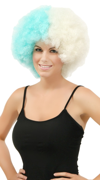 Blue and White Two Tone Afro Wig, Combo Color Afro Wig, Sports Team Afro Wig