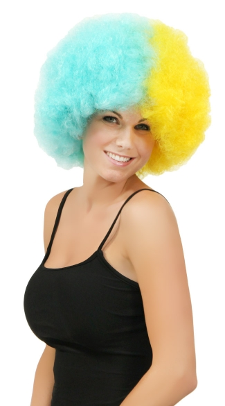 Blue and Yellow Two Tone Afro Wig, Combo Color Afro Wig, Sports Team Afro Wig