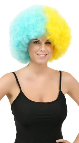 Blue and Yellow Two Tone Afro Wig - Light Blue/Yellow