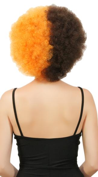 Orange and Brown Two Tone Afro Wig - Orange/Brown
