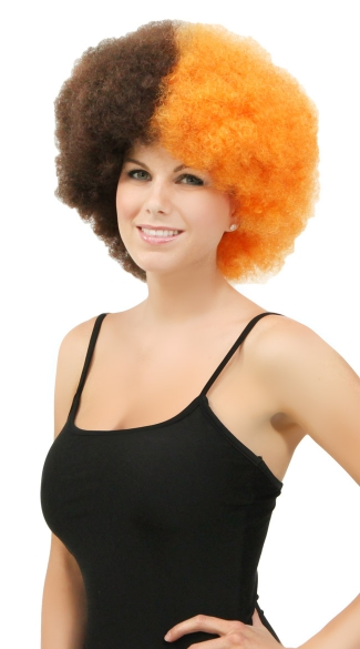 Orange and Brown Two Tone Afro Wig, Combo Color Afro Wig, Sports Team Afro Wig