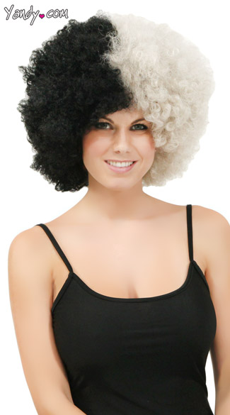 Silver and Black Two Tone Afro Wig, Combo Color Afro Wig, Sports Team Afro Wig