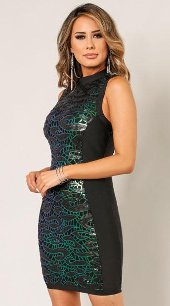 Ana Party Animal Sheath Dress - Black